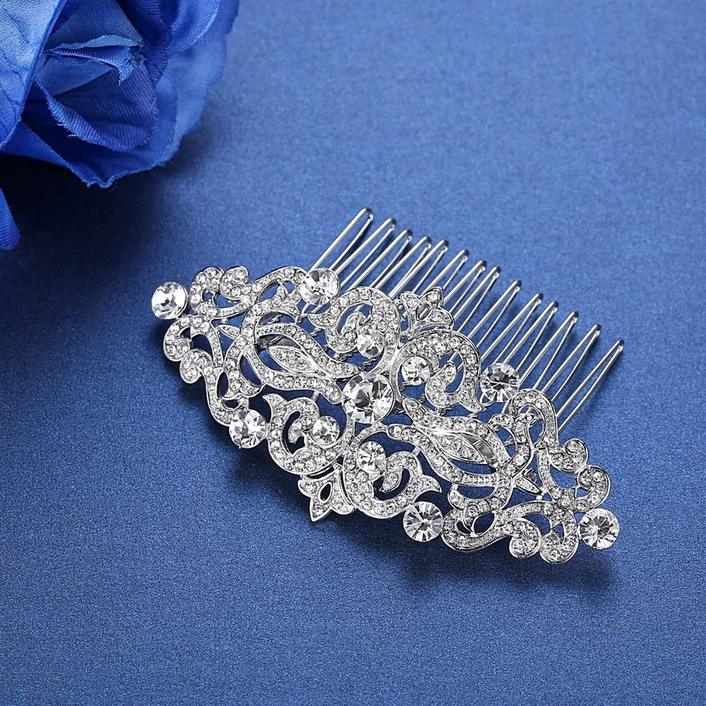 mecresh Silver Wedding Hair Comb Hollow Gorgeous Crystal Bridal Hair Jewelry Flower by mecresh