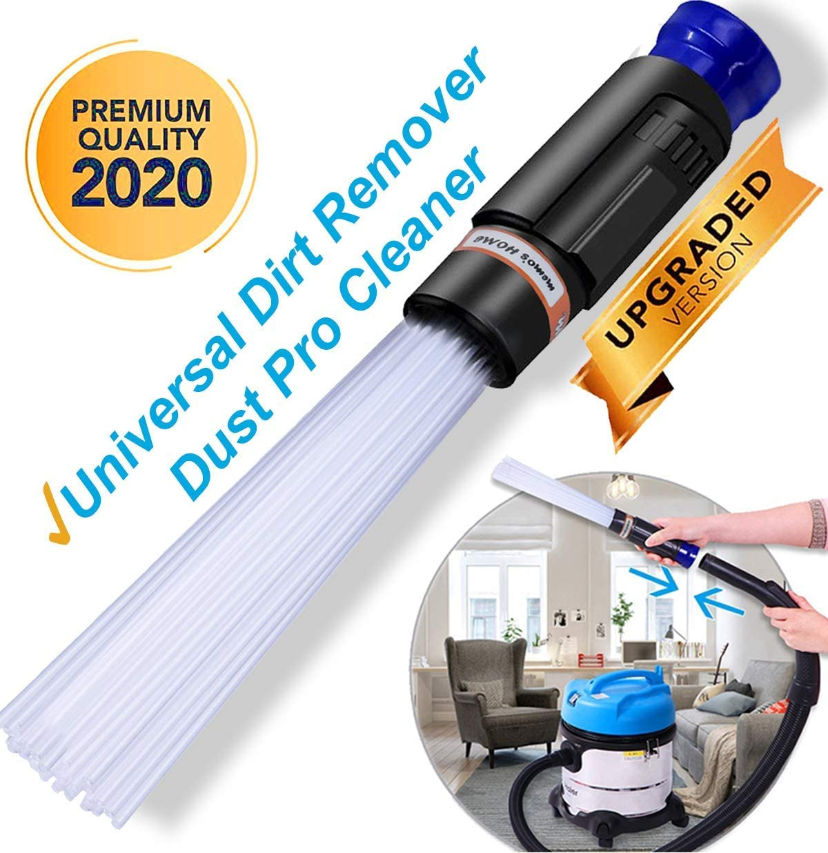 memo's HOME Dust Pro Cleaner - New 2020 Universal Dirt Remover, Sweeper Vacuum Attachment Dust Vac Cleaning Tools with Flexible Dusty Brush, Tiny Tools (Easy Duster)
