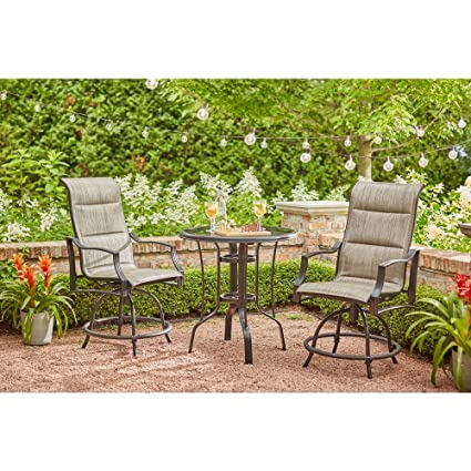 Hampton Bay Statesville Pewter Antique Bronze 3 Piece Outdoor Balcony  Height Dining Set