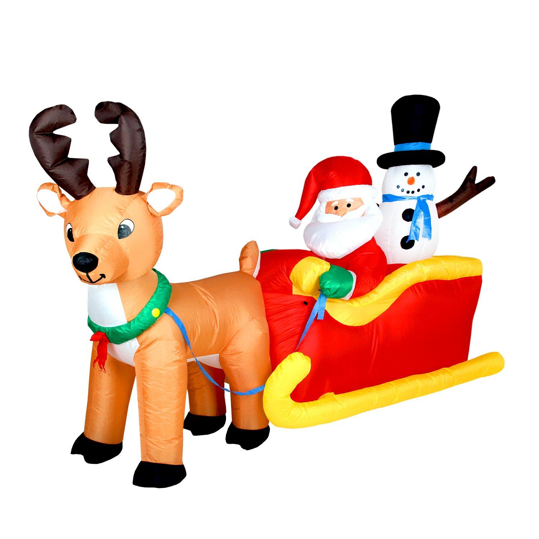 200cm Weihnachtsmann und Schneemann auf Schlitten mit Rentier selbstaufblasende Weihnachtsdeko Airblown