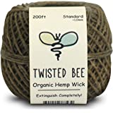 100% Organic Hemp Wick with Natural Beeswax Coating | Twisted Bee (200ft x Standard Size)