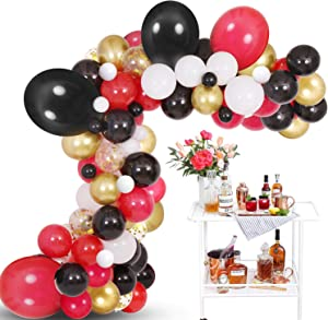 Black White Red Balloon Garland Kit, 125 Pack Balloons Garland Kit Including 18INCH Black Red Balloons Ideal for Casino Card Night Poker Las Vegas Party Decorations
