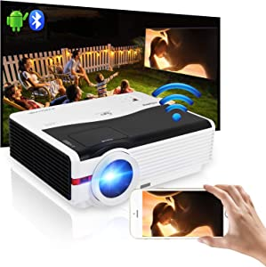 WiFi Bluetooth Outdoor Movie Projector 6000 Lumen,Wireless Android Gaming Projector Home Theater 200 Inch LCD Display Support Airplay Zoom,Hdmi DVD Projector for Laptop Smart Phone USB PS4 TV