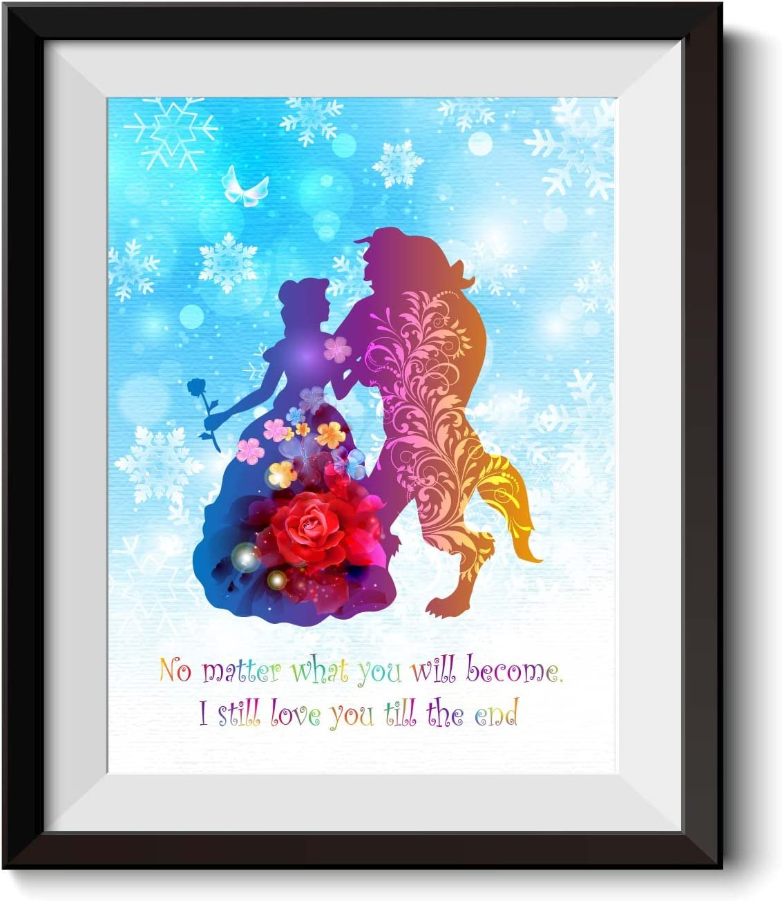 Uhomate Princess Belle Beauty and The Beast Beauty Beast Home Canvas Prints Wall Art Baby Gift Inspirational Quotes Wall Decor Living Room Bedroom Bathroom Artwork C019 (8X10 inch)