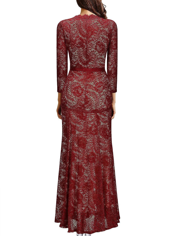76ddbea5fca21 Amazon.com: Miusol Women's Floral Lace 2/3 Sleeves Long Bridesmaid Maxi  Dress: Clothing