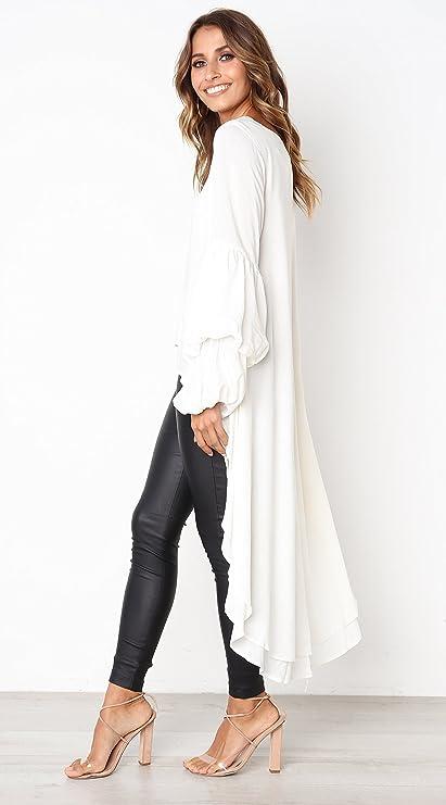 Women's Round Neck High Low Asymmetrical Hem Casual Tops Shirt Dress