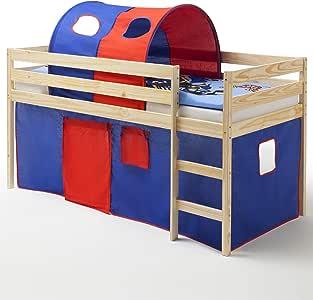 Cama infantil entrepiso Aventura cuna ERIK, madera maciza de pino en madera lacada, cortina y túnel en azul y rojo, 90 x 200 cm: Amazon.es: Hogar