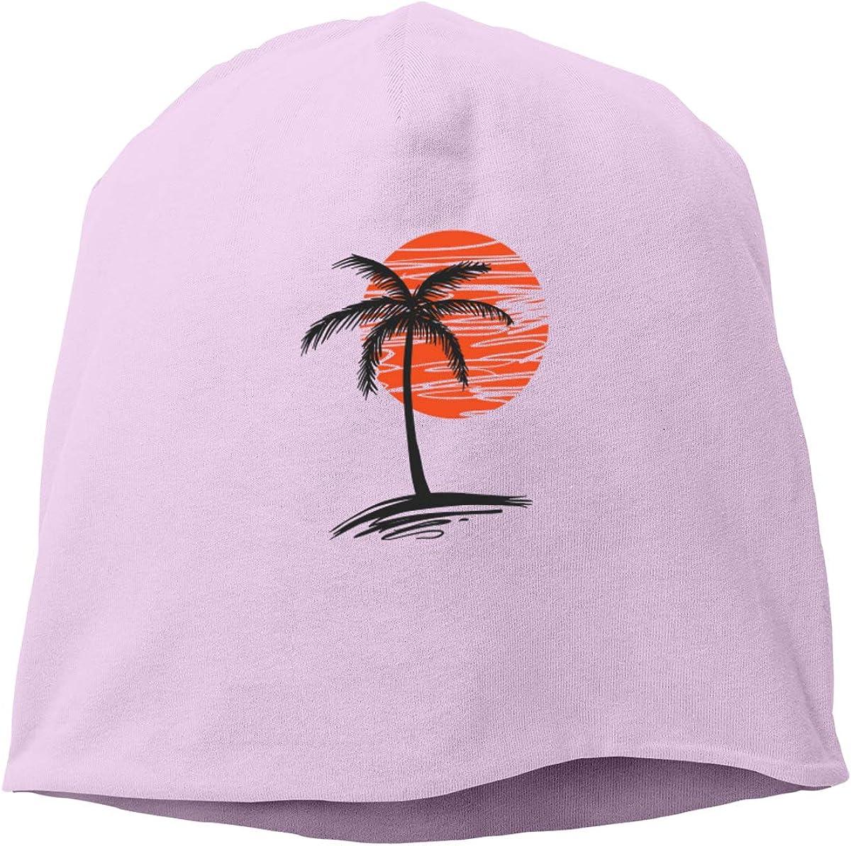 Palm Tree Sunset Skull Cap Helmet Liner Beanie Cap for Men Hip Hop Hedging Head Hat