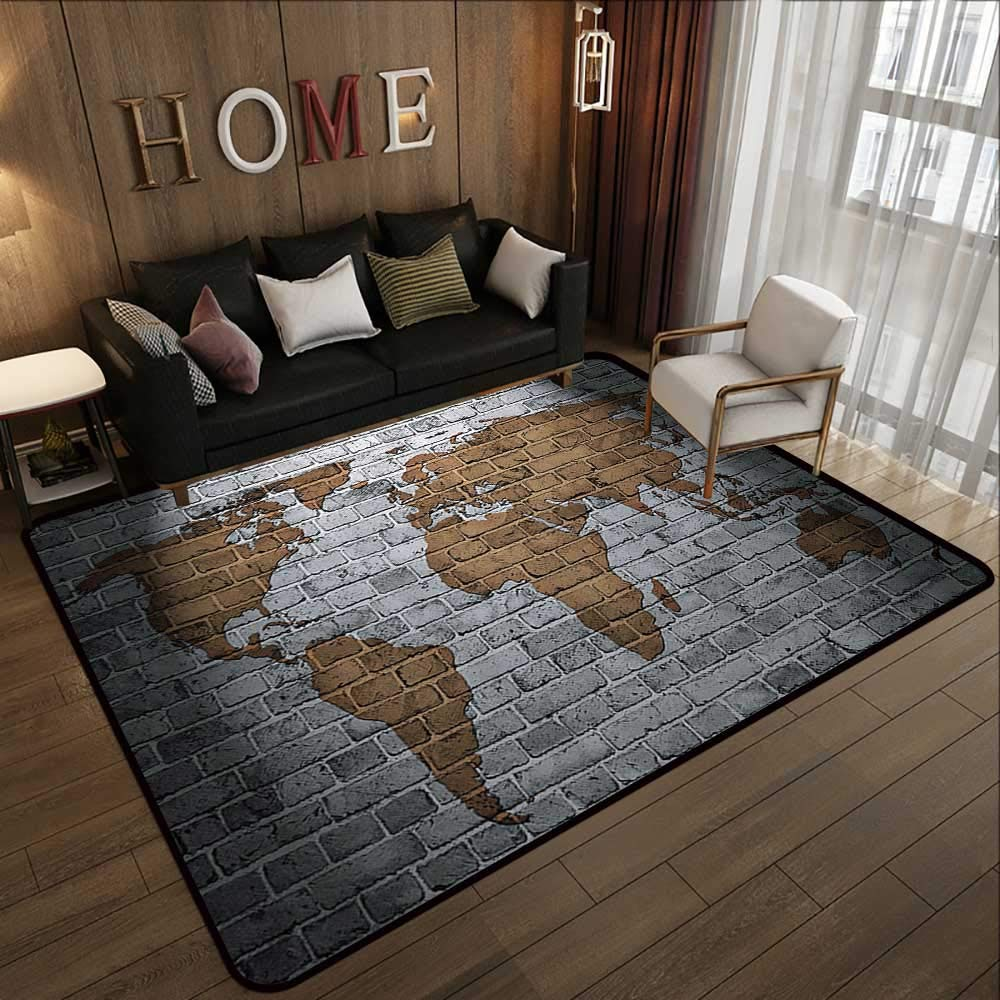 Pattern07 63\ Carpet mat,Wanderlust Decor,World Map On Old Brick Wall Countries Continents Creative Aged Vintage Rough 63 x 94  Floor Mat Entrance Doormat