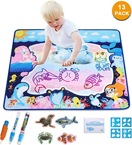 Amazon Com Pynsseu Mermaid Water Drawing Mat Doodle Mat Educational Toys Multiple Color Painting Coloring For Kids Aqua Magic Mat Toddler Gifts For Boys Girls Age Of 2 3 4 5 6 Year Old 32 X 25 In 10