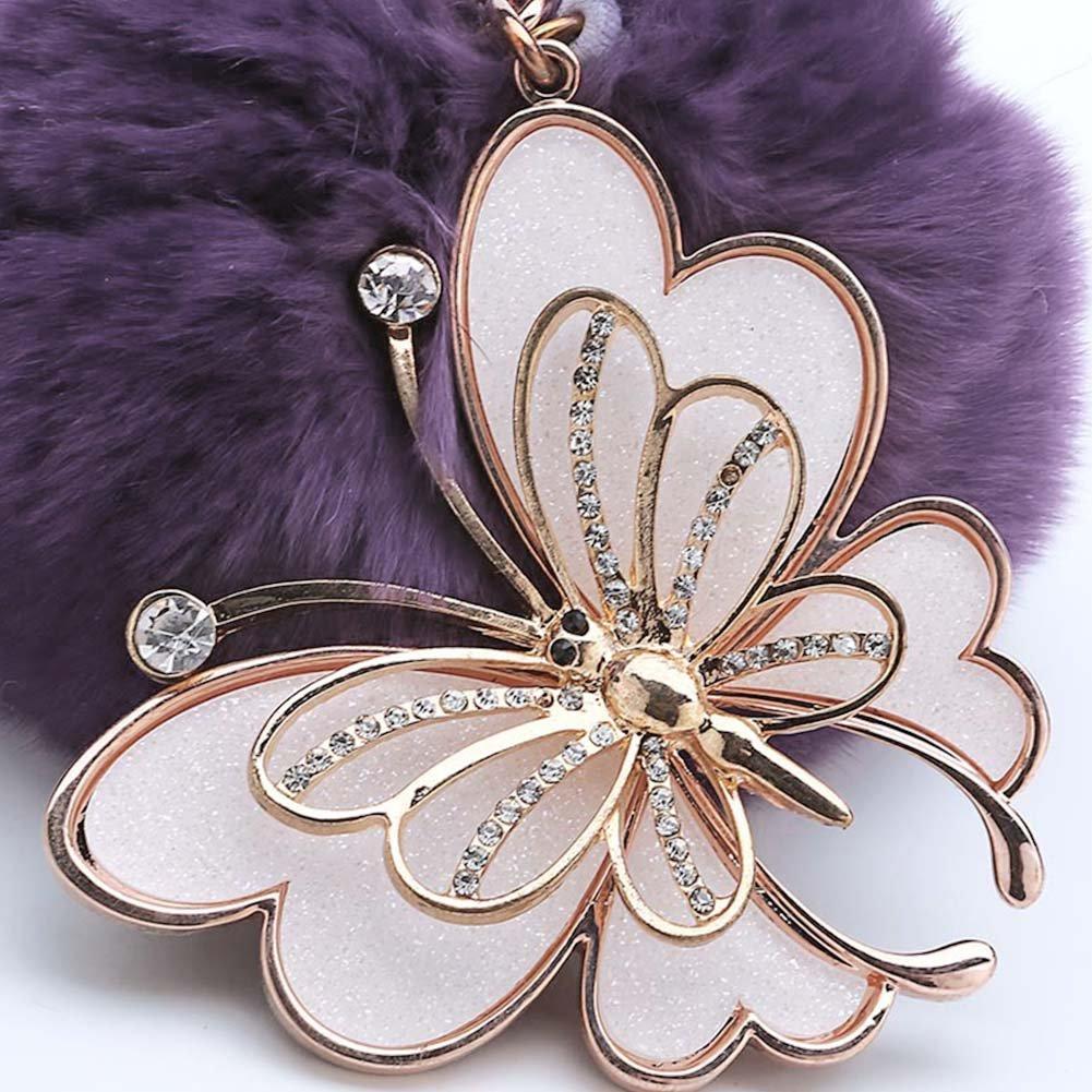 ACTLATI Elegant Butterfly Keyfob Faux Crystal Keyring Pompom Fluffy Ball Handbag Keychain Decor by ACTLATI (Image #4)