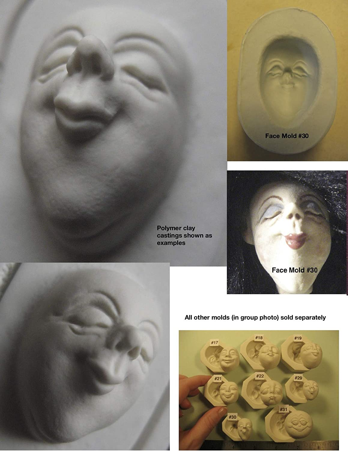 #0030 - Flexible FG Silicone Press Mold of a Doll Face Cab (Male or Female Character)