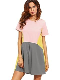 47a387a727ae SheIn Women s Cute Short Sleeve Pockets Color Block Casual Swing Tunic Dress
