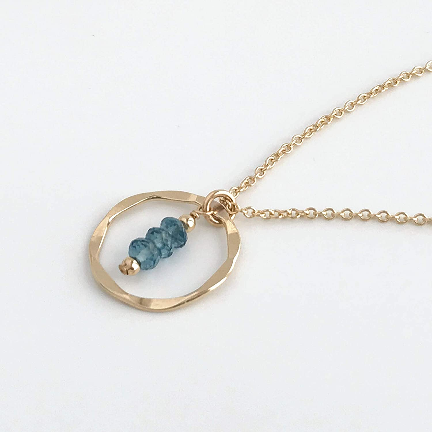 London Blue Topaz Eternity Circle Necklace November Birthstone