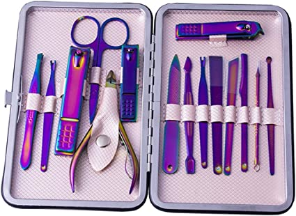 15 unids/set Nail Clipper Kit Manicure Pedicure Grooming Set Pinzas de tijera Oreja herramienta de cuidado de uñas con estuche Nail Clippers Set herramientas de belleza (Color : Purple): Amazon.es: Belleza