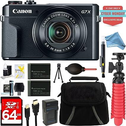 Canon PowerShot G7 X Mark II 20 1MP 4 2x Optical Zoom Digital Camera +  Two-Pack NB-13L Spare Batteries + DigitalAndMore Free Accessory Bundle