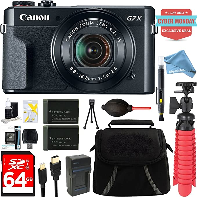 Canon Power Shot G7 X Mark Ii 20.1 Mp 4.2x Optical Zoom Digital Camera + Two Pack Nb 13 L Spare Batteries + Digital And More Free Accessory Bundle (Exclusive Cyber Monday Deal) by Canon