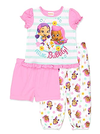 a70cd4873 Amazon.com  Bubble Guppies Toddler Girls 3 piece Shorts Pajamas Set ...
