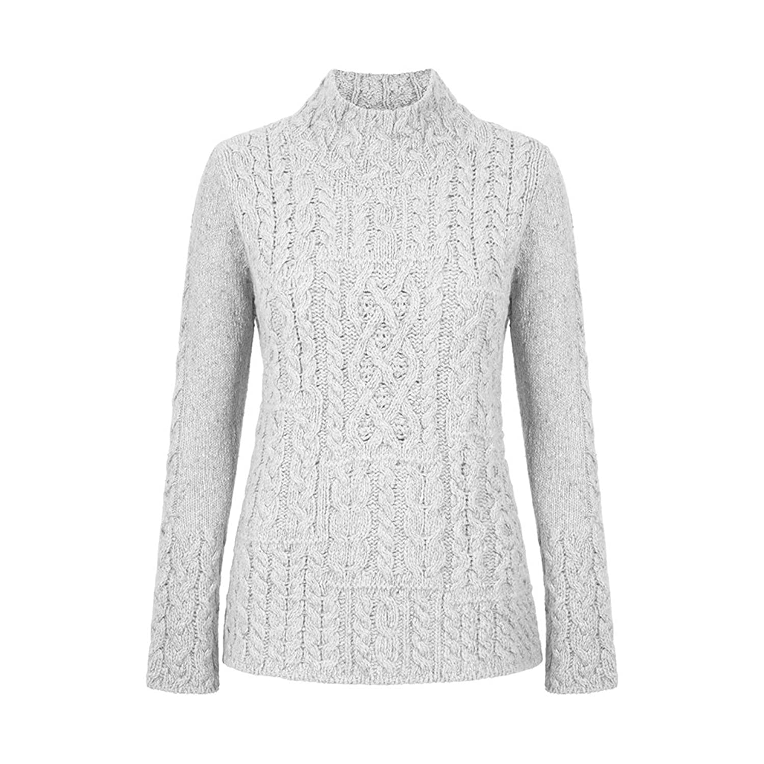 Ladies Cut Patchwork Wool Sweater, Imported from Ireland, Natural