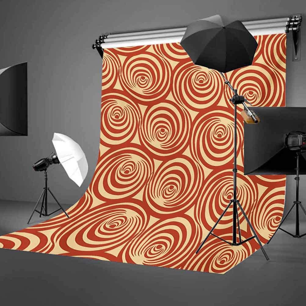 Retro 8x10 FT Backdrop Photographers,Circular Spiral Motifs Old Fashioned Abstract Design Artistic Ornament Background for Photography Kids Adult Photo Booth Video Shoot Vinyl Studio Props