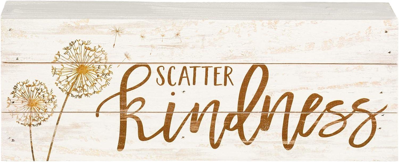 P. Graham Dunn Scatter Kindness Dandelion Whitewash 12 x 4.5 Solid Wood Boxed Pallet Plaque Sign