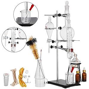 VEVOR Distillation Apparatus 500ML Lab Glassware Kit Glass Distilling for Pure Water Oil Essential Distillation with Condenser Pipe Flask(500ML,24,40)