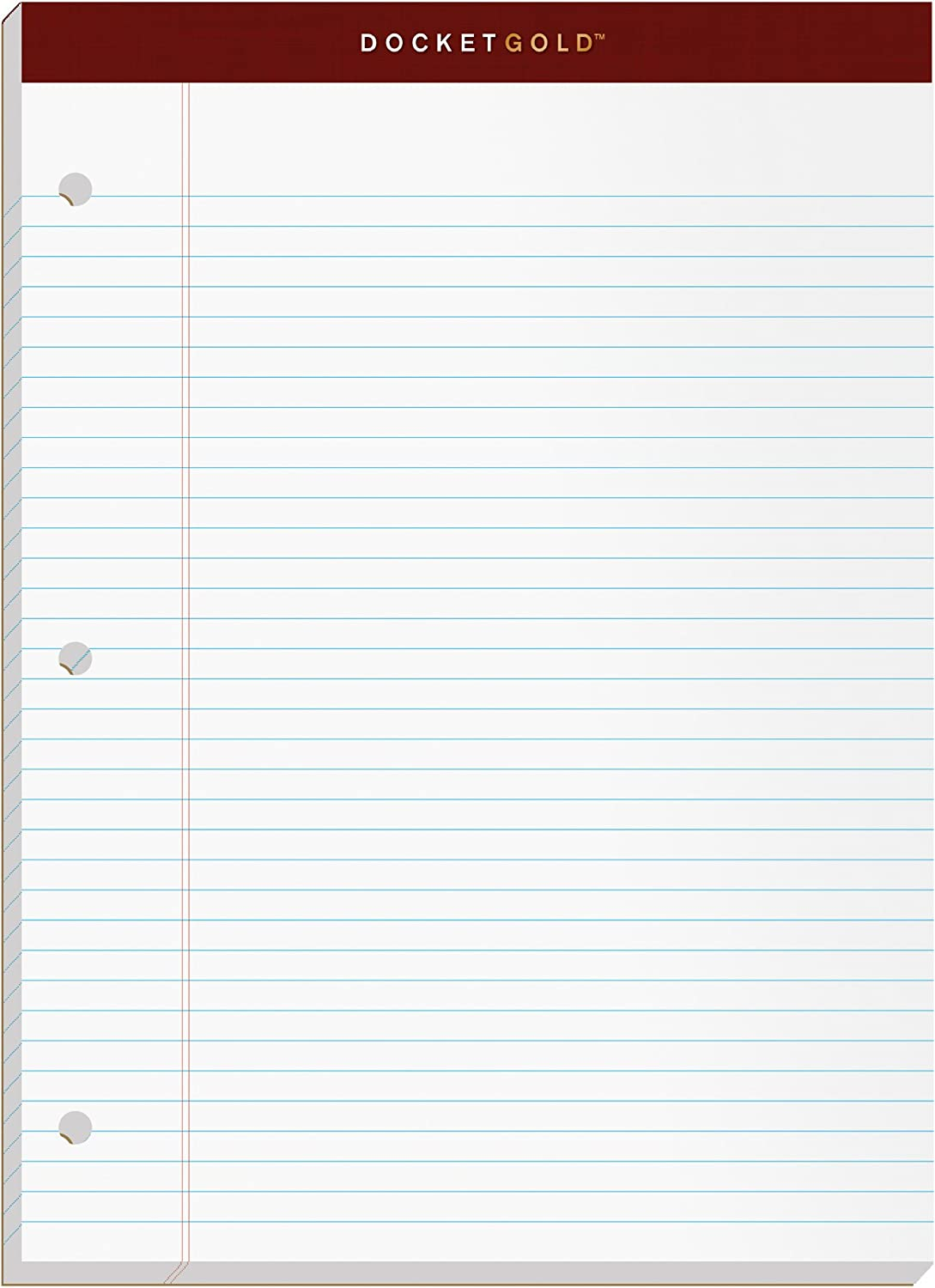 """TOPS Docket Gold Writing Pads, 8-1/2"""" x 11-3/4"""", Narrow Rule, 3-Hole Punched, White Paper, 100 Sheets, 2 Pack (99706)"""