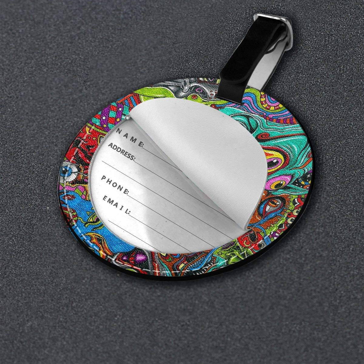 Free-2 Acid Trippy Leaking Smiley Face Luggage Tag 3D Print Leather Travel Bag ID Card