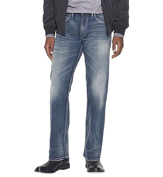 648ad2fe Silver Jeans Men's Zac Relaxed Fit Straight Leg Jeans Pants, Medium  Sandblast Indigo, 30x32