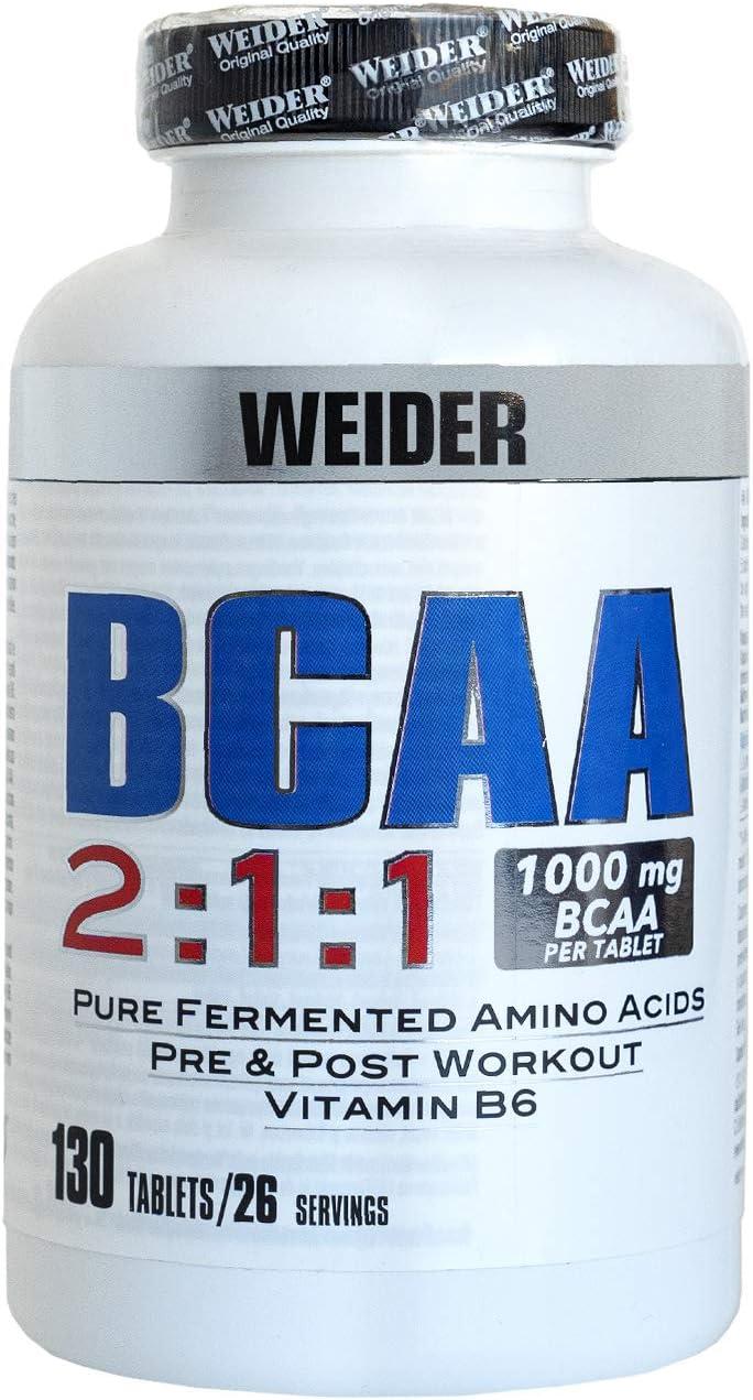Weider BCAA 2:1:1 con 130 Capsulas. 1g de BCAA por comprimido. Enriquecido con Vitamina B6. Aminoacidos esenciales.
