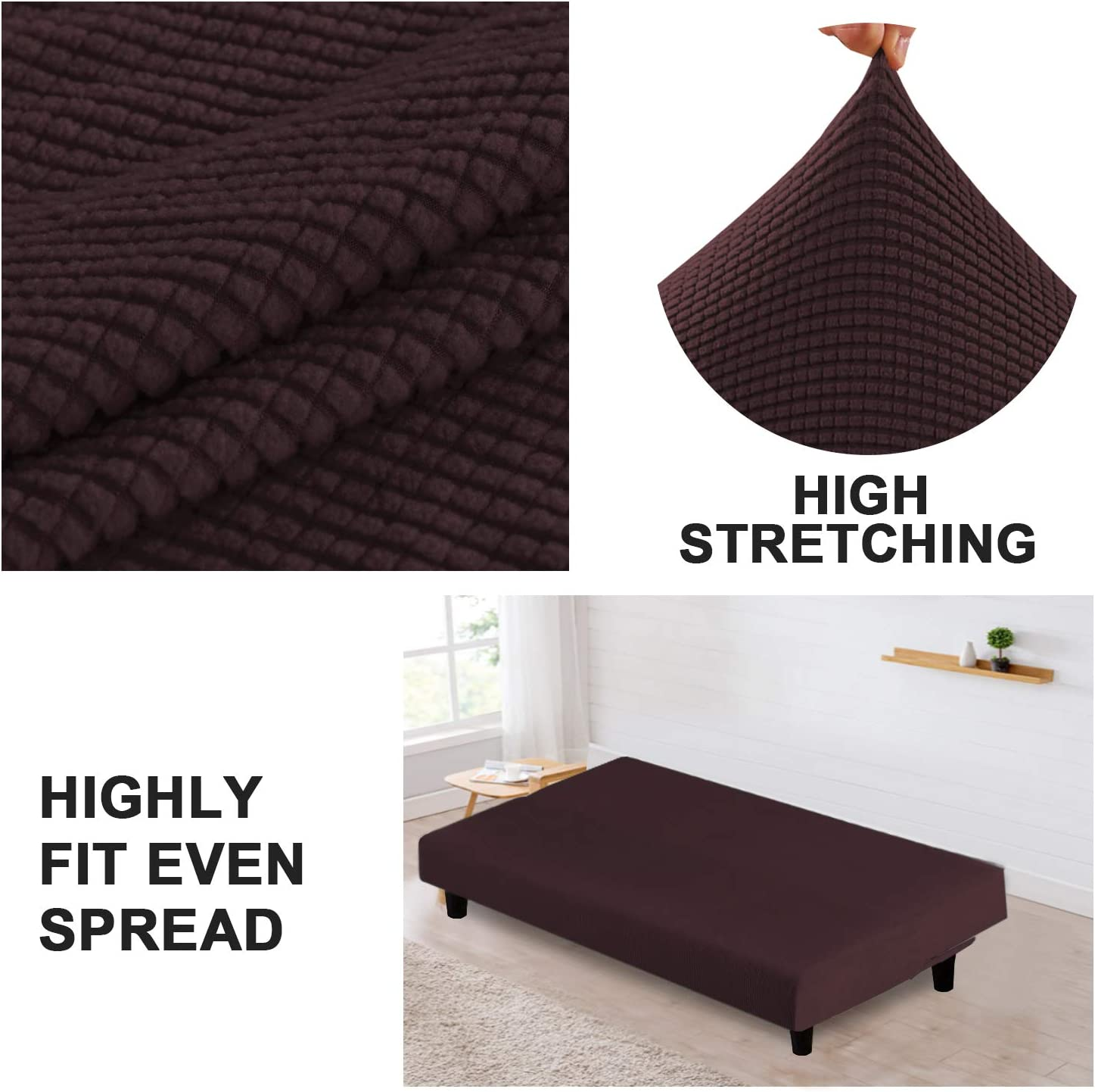 1-Piece Stretch Slipcover for Futon Slipcover Spandex Fabric Soft and Durable for Sofa No Slipping Stay in Place Cover Turquoize Stretch Futon Cover//Couch Covers//Lounge Cover Futon, Brown