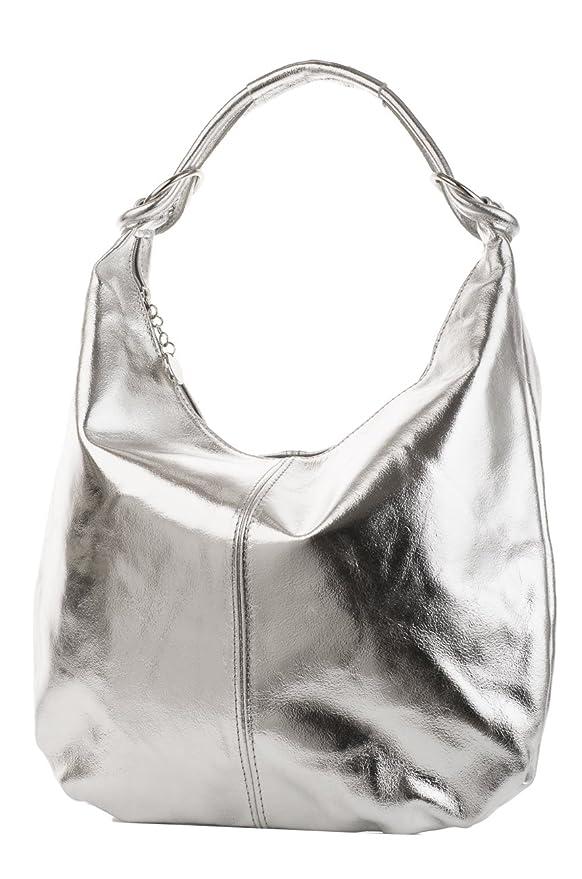 Handtasche Leder 34 cm, silver cognac