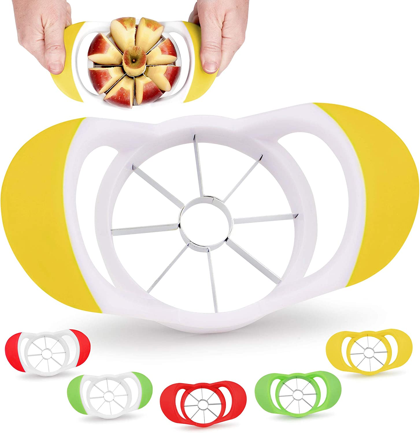 Zulay 8 Blade Apple Slicer - Easy Grip Apple Cutter With Stainless Steel Blades - Fast Usage Apple Corer And Slicer Tool That Saves Time & Effort (Yellow & White)
