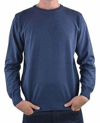 Redmond Pull Chiné col Rond en Coton Marine Grande Taille Homme 2XL - 2XL -  Bleu c8f827d01494