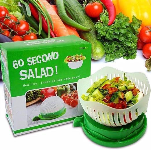 60 Second Salad Cutter Bowls Vegetable Fruit Chop Quick Slicer Strainer USA