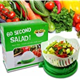 TKS-mart 60 SECOND SALAD CUTTER BOWL! Salad Cutter, Salad Maker, Salad Bowl Cutter, Salad Chopper Bowl, Vegetable Slicer Cutter, Salad Server, Fruit Salad Cutter! Easy, Fast, Clean! SALAD IN SECONDS