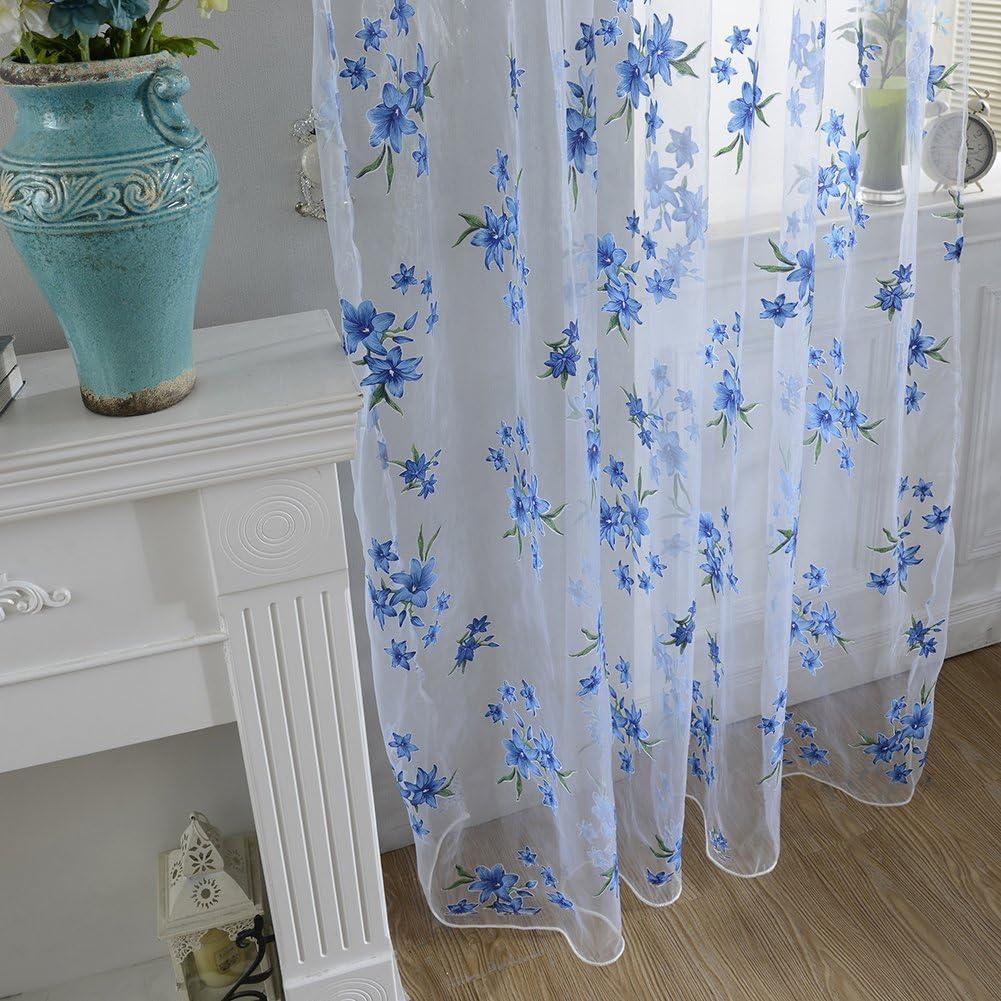 pu ran Zarte Blume T/üll Fenster Vorhang Sheer Fall Trennwand Home Fenster Decor Einheitsgr/ö/ße blau