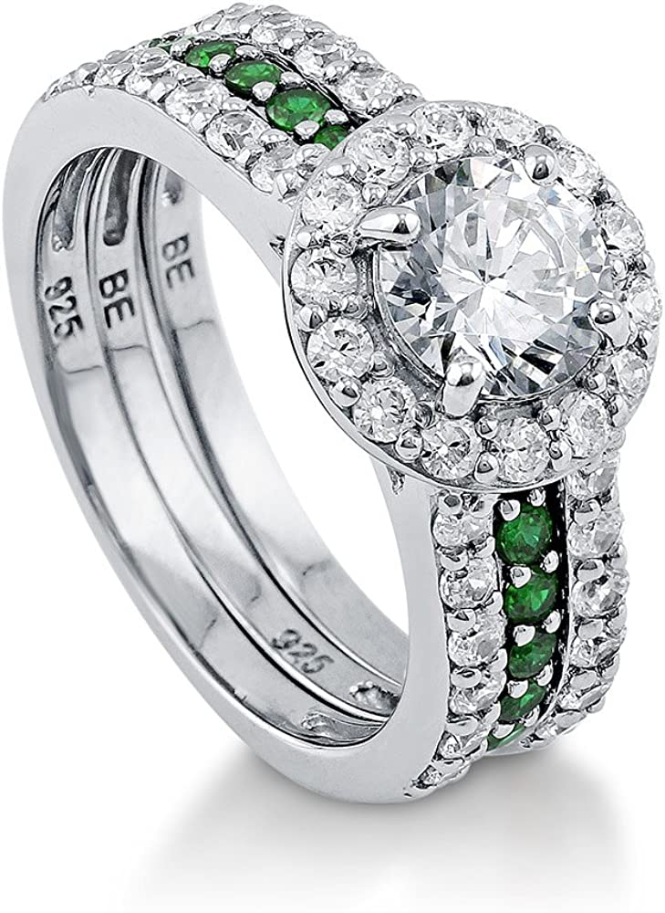 BERRICLE Rhodium Plated Sterling Silver Round Cubic Zirconia CZ Halo Engagement Wedding Insert Ring Set 2.08 CTW