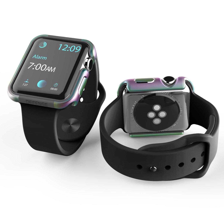 New 42mm Apple Watch Case, X-Doria Defense Edge Premium Aluminum & TPU Bumper Frame - Compatible with Apple Watch Series 1, Series 2, Series 3 and Nike+, (Iridescent)