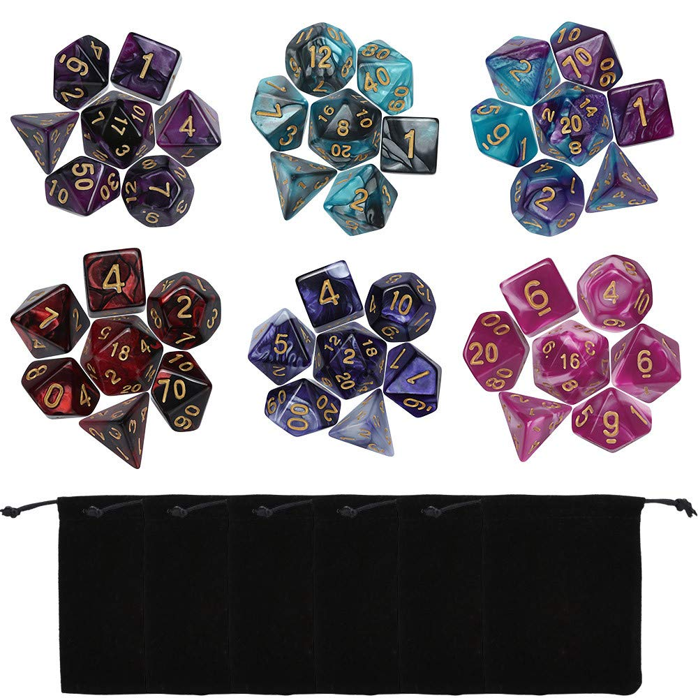 Wenini DND Dice, 49/42 PCS Dungeon Dragons Dice, Double-Colors Polyhedral Dice Dungeons Dragons DND RPG MTG Table Games D4 D6 D8 D10 D12 D20 (42PCS Multicolor B)