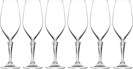 Square Crystalline Champagne Toasting Flute - Made in Europe 5 oz Lead Free Barski Glass Set of 6