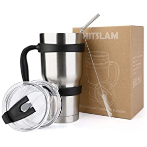 HITSLAM Tumbler 30oz Double Wall Stainless Steel Tumbler Vacuum Insulation Travel Mug for Cold Drink/Hot Beverage includes 2 Straw Lids, Cup Handle, Straw, Cleaning Brush (Silver)