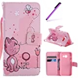 Galaxy A5 2017 Case Wallet,For Samsung Galaxy A5 2017 Case Gold,EMAXELERS Flip PU Leather Cover for Samsung A5 2017,Galaxy A5 2017 Case Elegant Retro Cute Lovely Cartoon Pink Cat Pattern Pu Leather Flip Wallet Stand Case,Galaxy A5 2017 Case Shockproof Bookstyle Cellphone Skin Pouch with Magnetic Closure Card Slots Folio Protective Pocket Bumper Cover Skin for Samsung Galaxy A5 2017 + 1 Stylus Pen,Pink Cat