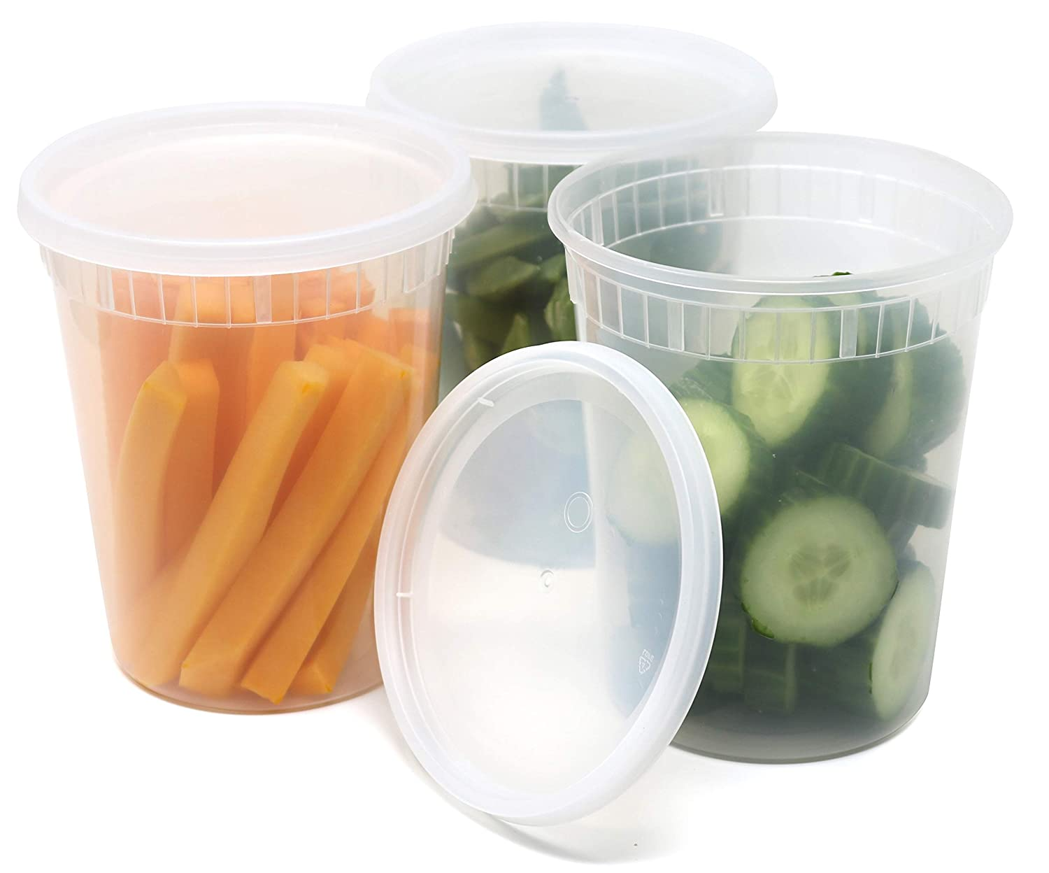 Eskay Plastic Food Storage Containers with Airtight Lids 32 oz.PP FoodSafe Plastic, BPA Free, Restaurant Deli Cups, Foodsavers, Baby Lunch Container, Portion Control, and Meal Prep Containers, 24 Pack