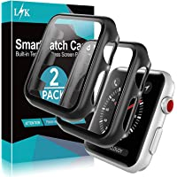 [2 Pack] L?K Case for Apple Watch 38mm Series 3/2/1 Built-in Tempered Glass Screen Protector, All-Around Ultra-Thin…