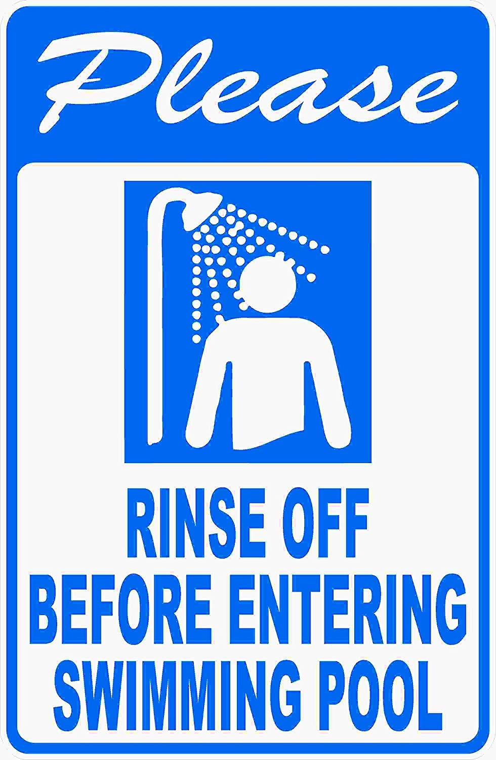 Eletina Case Wall Signs Please Rinse Off Before Entering Swimming Pool Sign 16x24 Metal Rules Pools Shower by Eletina Case