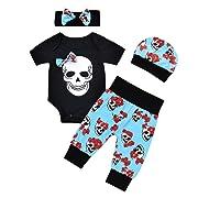 puseky 4pcs Newborn Baby Boys Girls Skull Romper+Pants+Hat+Headband Halloween Outfits (0-6 Months, Black+Blue)