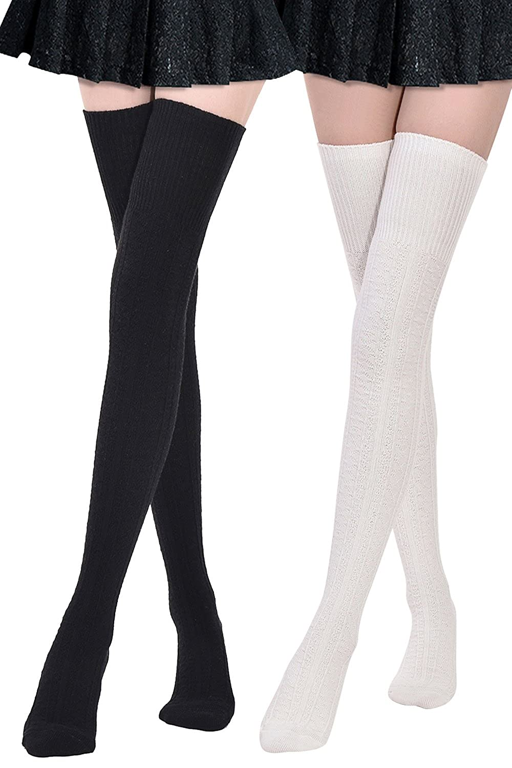 Dark & White Kayhoma Extra Long Cotton Thigh High Socks Over the Knee High Boot Stockings Cotton Leg Warmers