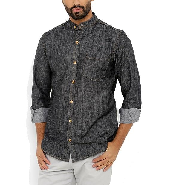 8aaedc7f4dd Nick   Jess Mens Black Slim Fit Denim Mandarin Collared Shirt  Amazon.in   Clothing   Accessories