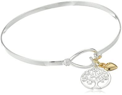 Amazon.com: Sterling Silver Family Tree and Heart Charm Catch Bangle ...